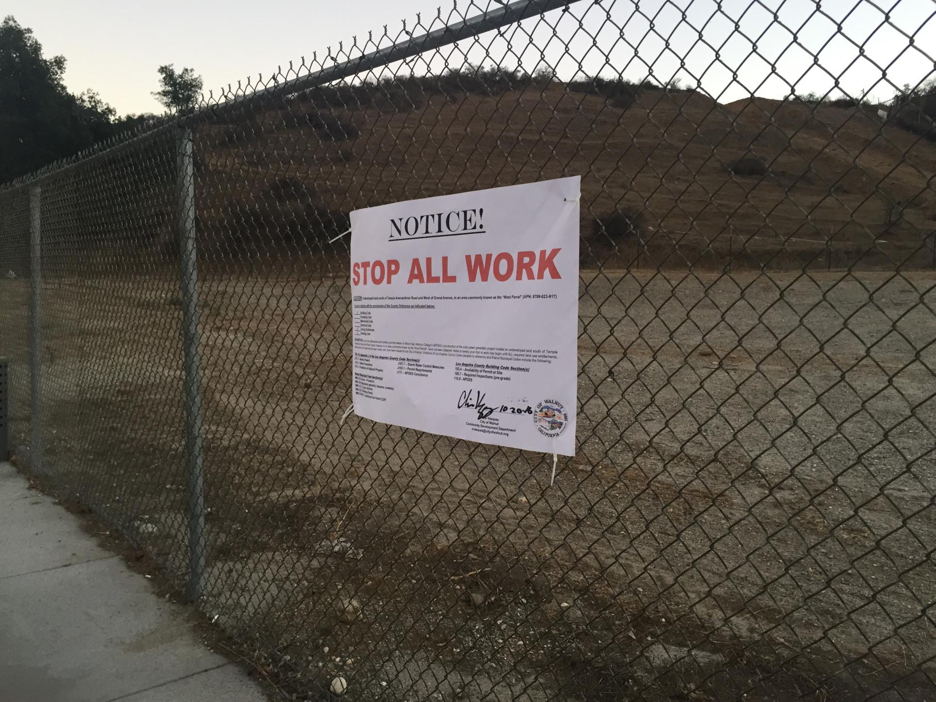 Stop All Construction Work Notice for Mt. SAC